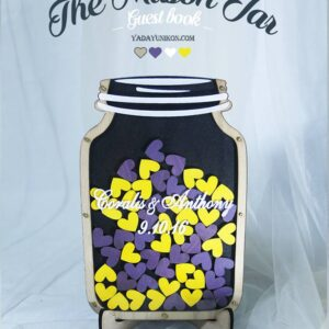 Black Mason Jar-Wood frame-Yellow+purple hearts- Drop Top Guest book