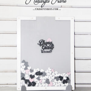 Gray Rectangle-White frame- White+gray+Pink hearts- Drop Top Guest book