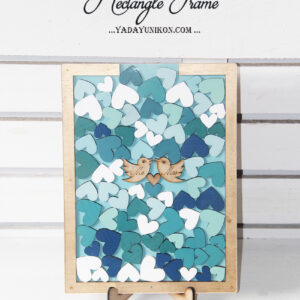 Seaglass Rectangle-Gold frame-Multiple blue hearts-Drop Top Guest book