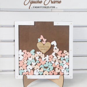 Brown Square-White frame-Peach+mint hearts-Drop Top Guest book