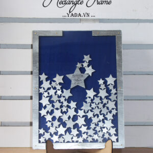 Navy Rectangle-Silver stars- Drop Top Guest book