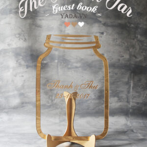 Clear Mason Jar-Gold frame-Ombré Orange hearts- Drop Top Guest book
