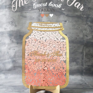 Clear Mason Jar-Gold frame-Ombré Orange hearts- Drop Top Guest book