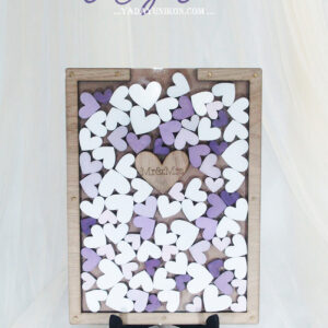 Wood Rectangle-Multiple purple hearts-Drop Top Guest book