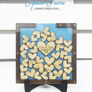Ocean Square-Brown frame-Wood hearts-Drop Top Guest book
