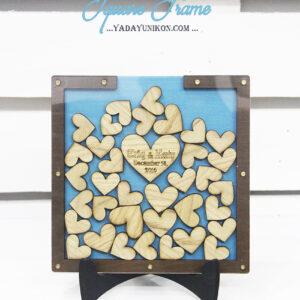 Ocean Square-Brown frame-Wood hearts-Drop Top Guest book
