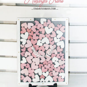Gray Rectangle-White frame-Multiple pink hearts-Drop Top Guest book