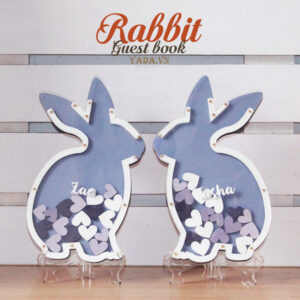 Rabbit&Hearts-Purple background- Drop Top Guest book