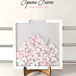 Light Gray Square-White frame-Pink hearts-Drop Top Guest book