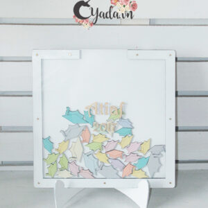 White Square-Multiple pastel graduation hats-Drop Top Guest book