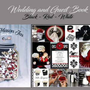 Black Mason Jar-Wood+white+red hearts- Drop Top Guest book