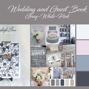 Wood Rectangle-White frame- White+gray+Pink hearts- Drop Top Guest book