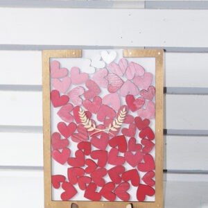 White Rectangle-Gold frame- Multiple Pink hearts- Drop Top Guest book
