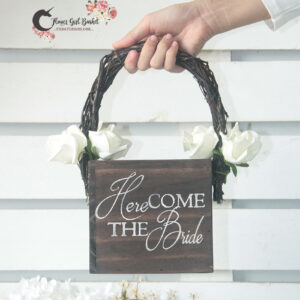 Here Comes The Bride Rustic Flower Girl Basket-Brown basket