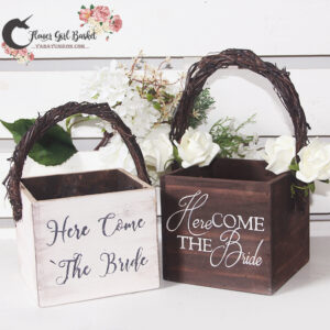 Here Comes The Bride Rustic Flower Girl Basket- White basket