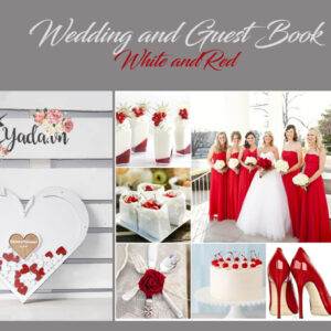 WhiteHeart -White+Red wood slices- Drop Top Guest book