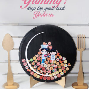 Yummy Guest book – Black background- Drop Top Guest book