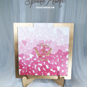 White Square-Gold frame-Multiple of pink hearts-Drop Top Guest book