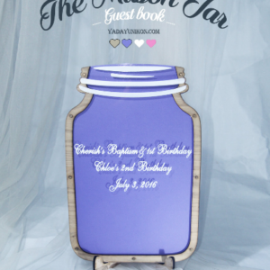 Purple Mason Jar-Pink hearts-White circle- Drop Top Guest book