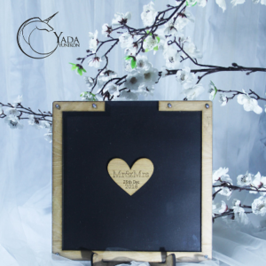 Black Square-Wood frame+hearts-Drop Top Guest book