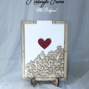 White Rectangle-Wood hearts- Drop Top Guest book