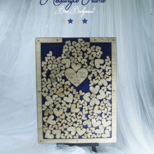 Navy Rectangle-Wood hearts- Drop Top Guest book