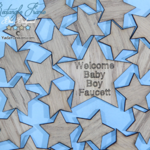 Blue Rectangle-Wood stars- Drop Top Guest book