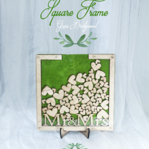 Grass Square-Wood frame+hearts-Drop Top Guest book