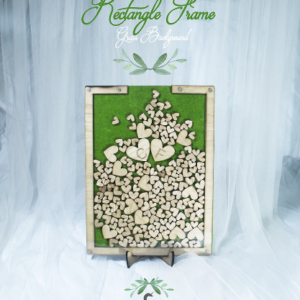 Grass Rectangle-Wood hearts-Drop Top Guest book