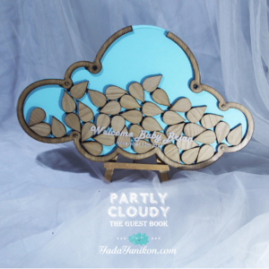 Blue Cloud -Wood raindrops- Drop Top Guest book