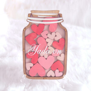 Pink Mason Jar- Multiple Pink hearts- Drop Top Guest book
