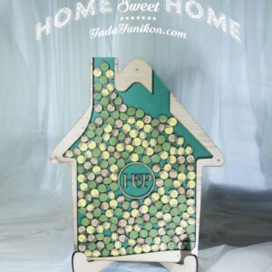 Green House – Wood Frame – Multiple Color Smile Icon – Drop Top Guest book