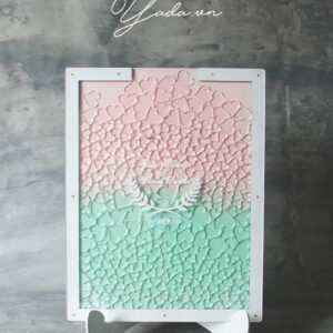 Mint+Pink Rectangle – White Frame- Resin Hearts-Drop Top Guest Book