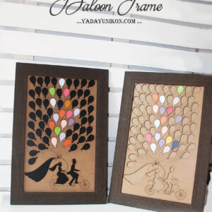 Wood Rectangle – Baloon Frame – Multiple Color Baloon – Drop Top Guest Book