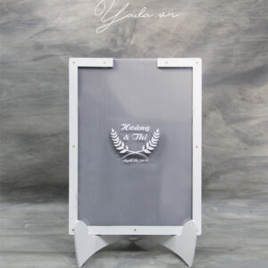 Gray Rectangle-White Frame- Multiple Of Pink Hearts-Drop Top Guest Book
