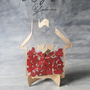 Pure House-Gold Frame-Red hearts- Drop Top Guest book