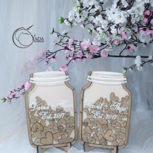 Beige Mason Jar-Wood Seashells- Drop Top Guest book