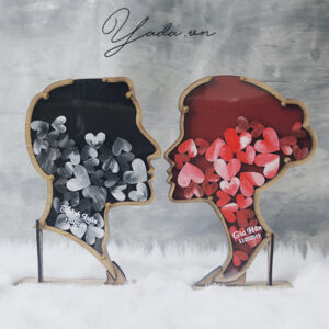 Red + Black Man&Woman Silhouette- Drop Top Guest book