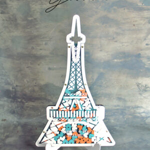 Eiffel Tower-White Frame-Mint & Orange Hearts-Drop Top Guest Book