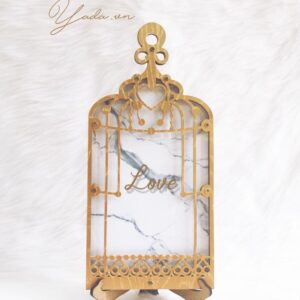 Marble Birdcage-Gold frame-Resin+Gold hearts – Drop Top Guest book