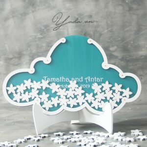 Blue Cloud -White Frame – White flowers- Drop Top Guest book
