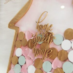Home Street Home – Gold Frame – Gold+White+Mint Rounds + Resin Hearts- Drop Top Guest book