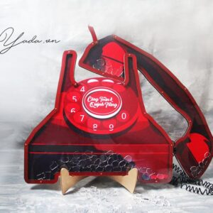 Red Telephone – Red Frame – Resin Talk Box – Drop Top Guest book