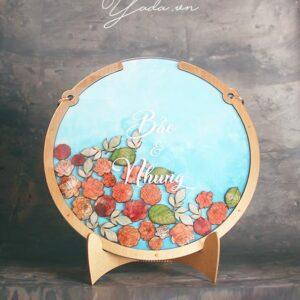 Peonies-Blue Water Color background- Drop Top Guest book