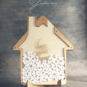 Home Street Home – Gold Frame – White Hearts- Drop Top Guest book