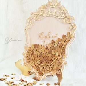 Gold Mirror- Blush Plink Frame- Gold Hearts -Drop Top Guest Book