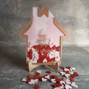 Home Street Home – Gold Frame – Red and Pink Hearts- Drop Top Guest book